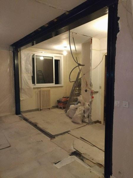 Ouverture mur porteur entre salon et cuisine 92140 Clamart - Murs porteurs