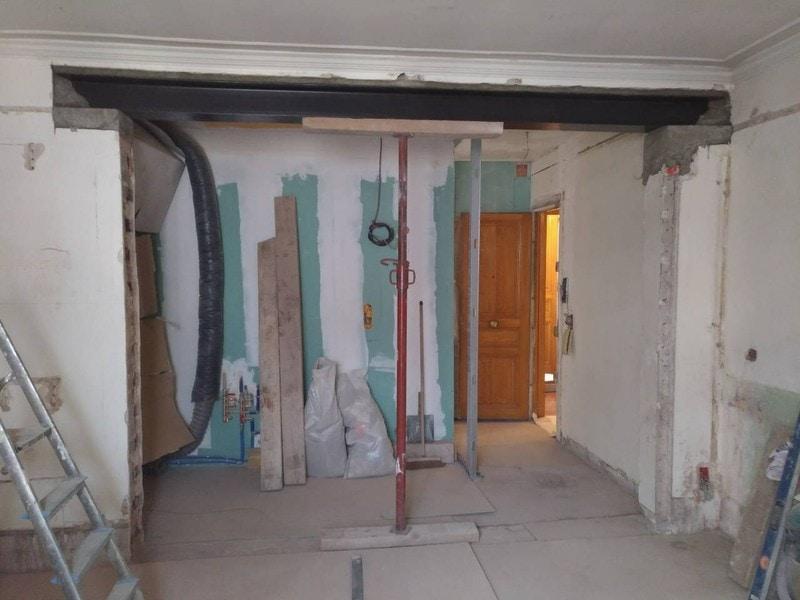 Ouverture mur porteur salon Paris
