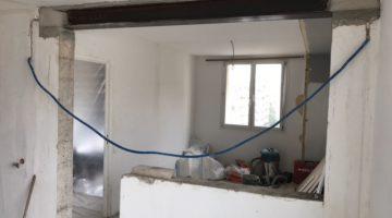 Ouverture dans un mur porteur pour l'installation d'une verrière