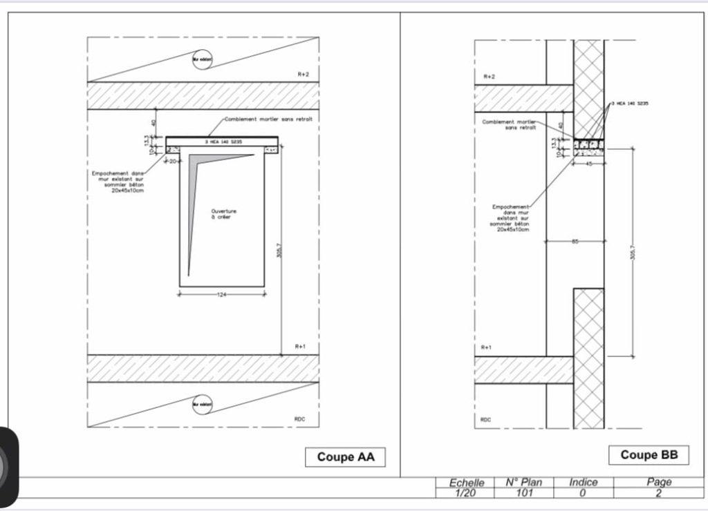 Ouverture d'un mur de façade pour la création d'une baie pour la fenêtre à Nice - Murs porteurs