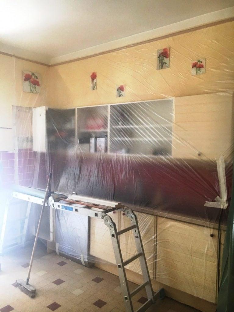 Agrandissement d'une baie dans un mur porteur en mâchefer, démolition d'une cloison.  Pose d'un IPN. Réalisation à Blanc-Mesnil. - Murs porteurs