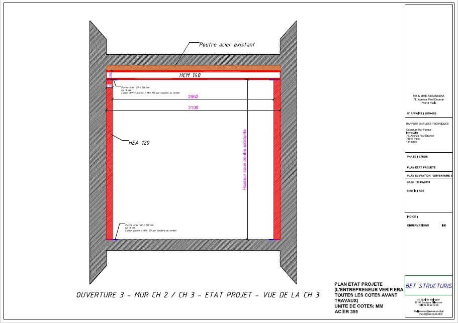 Murs porteurs Renforcement des poutres - Ouvertures de trois murs porteurs en briques rouges au premier étage. Réalisation à Menton 14