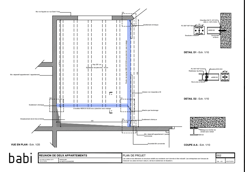 Création de trémie d'escalier pour relier deux étages à Cap-d'Ail. Renforcement du plancher par structure métallique. - Trémies